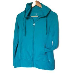 DANSKIN | teal workout hoodie w snap sleeves